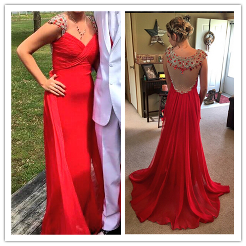 Red Beading Real Made Prom Dresses #L17