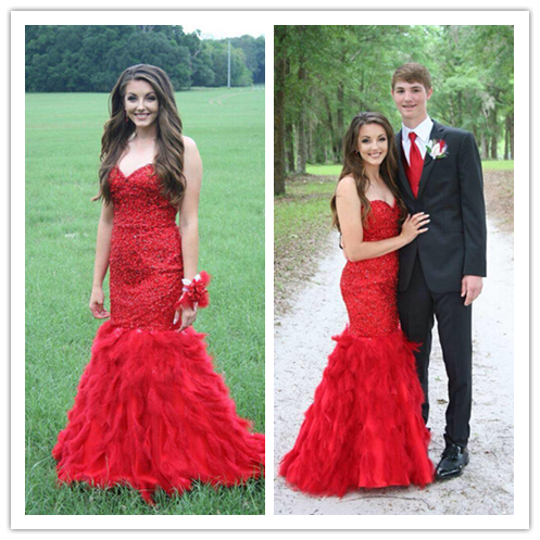 Red Real Made Beading Red Prom Dresses 2016 # S203