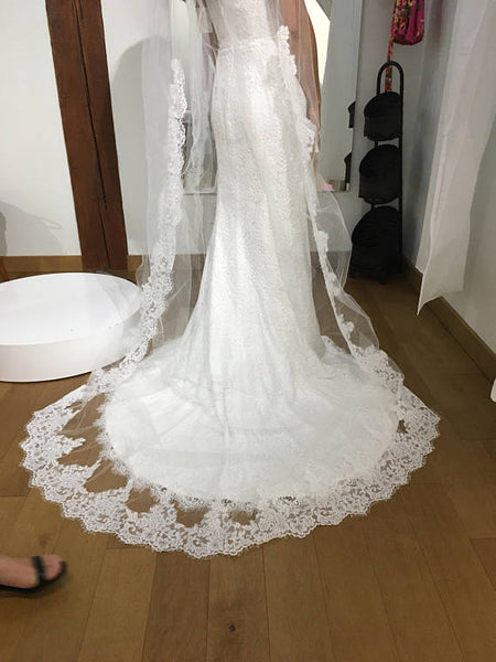 106 Inches Lace Edge Wedding Veils Cathedral Length Long Bridal Veil Accessories LD616