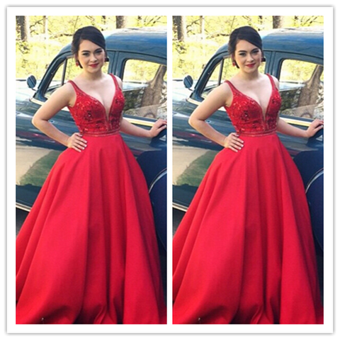 Red Sexy Real Made  Prom Dresses #L34