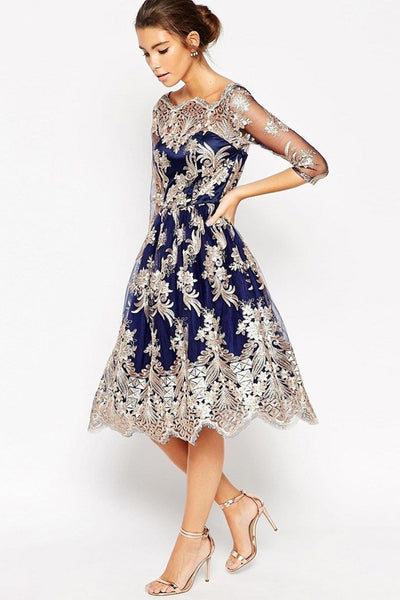 Discount ! 3/4 Long Sleeves Lace Navy Blue Short Formal Prom Dresses Homecoming Dress K1044