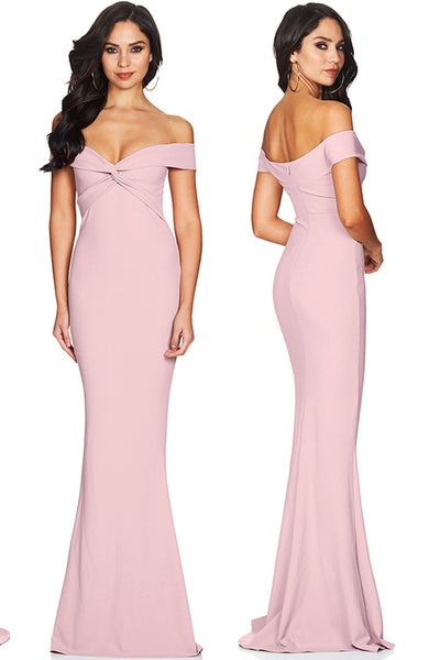 Discount ! Sexy Off the Shoulder Pink Mermaid Cheap Prom Dresses Formal Evening Dress K1196