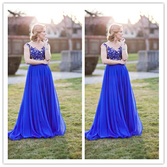 Royal Blue Appliques Real Made Latest Prom Dresses #L36