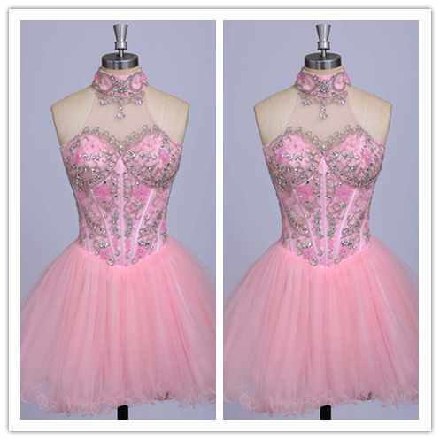 Blush Pink Beading Blush Pink Sweet 16 Dress #H005