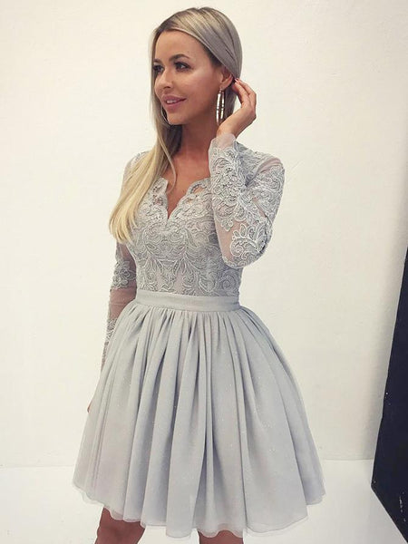 Chic V Neck Long Sleeves Grey Lace Homecoming Dress Short Prom Graduation Dresses LD1445