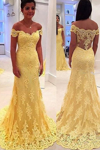 Arabic Light Yellow Lace Evening Gowns Mermaid Long Prom Wedding Guest Dresses #LF0069