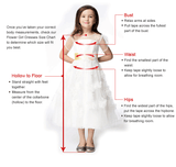 Fashion Ivory Lace Long A Line Cheap Flower Girl Dresses Kids Dress With Sash LD1624