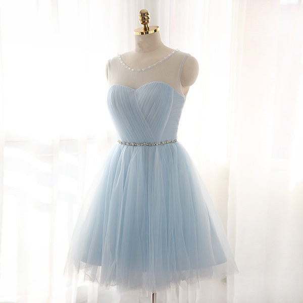 Light Sky Blue Fitted Silver Beading Sparkly Cocktail Dress Prom Homecoming Dresses #H106
