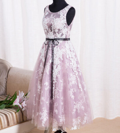 White Lace Tulle Ball Gown Party Dress #H107