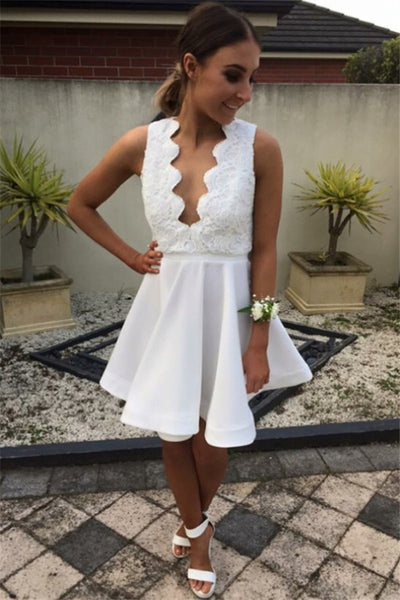 Open Back White Lace Fashion Cheap Homecoming Dresses Prom Dress #H062