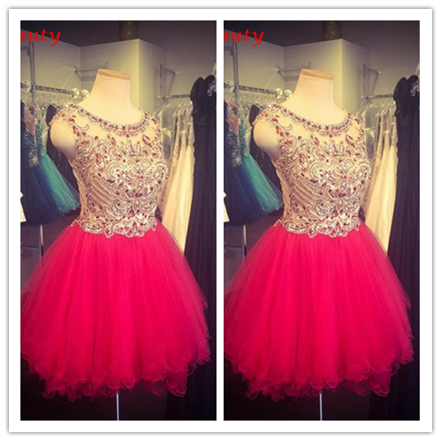 Red Tulle Homecoming Gown Party Dress 2016 #H026