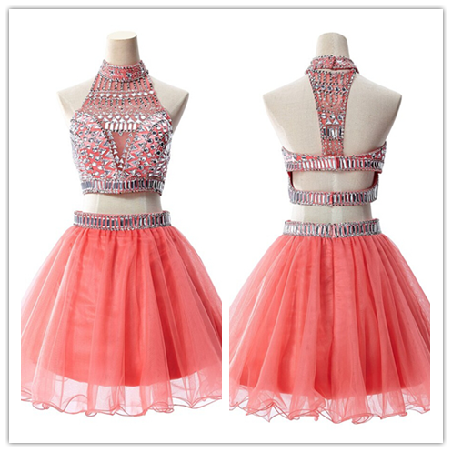 2 Piece Silver Beading Sweet 16 Dress #H040