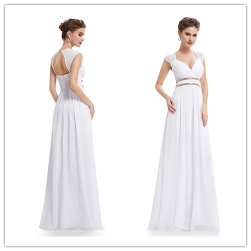 White Chiffon Bridesmaid Dresses With Cap Sleeve And Open Back #B044