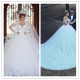 Long Train Ivory Color Slim Royal Wedding Dress #W019
