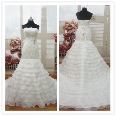 Mermaid lace tiered skirt  long white luxurious wedding dresses bridal gowns #W038