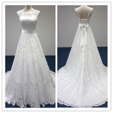 A-line Strapless Lace Wedding Dress #W033