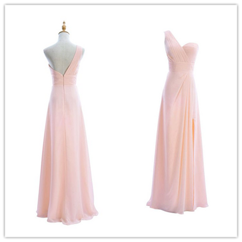 Sweetheart One Shoulder Chiffon Long Bridesmaid Dresses #B032