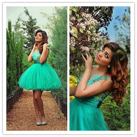 Light Turquoise Tulle Ball Gown Lace Short Prom Gown #H076