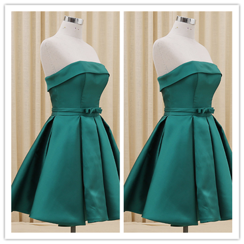 Satin Short Strapless Summer Prom Dress #H110