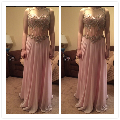Pink Beading Charming Real Made The Best Prom Dresses #L44