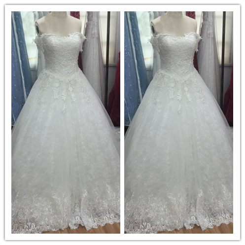 A-line white princess custom vintage wedding dress #W026