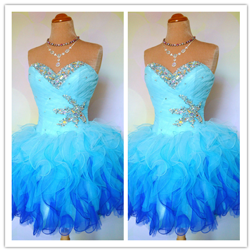 Blue Lace Ball Gown Party Dress #H090