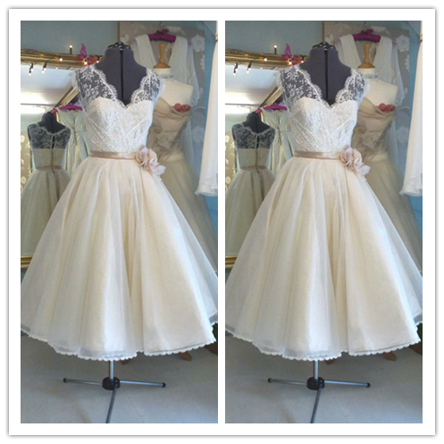 Short lace vintage ea length bridal gown #H044