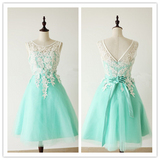 Lace Cute Mint Green Homecoming Dresses #H113