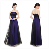 Purple And Black Strapless Tulle Bridesmaid Dresses #B042