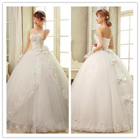 New Arrival Sweetheart Ruched Beaded Corset Lace Wedding DressesBridal Gonws #W036
