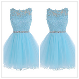 Tulle Lace Fitted Homecoming Dress Short Prom Dresses #H001