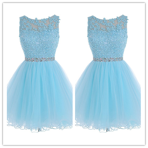 Tulle Lace Fitted Homecoming Dress Short Prom Dress #H001