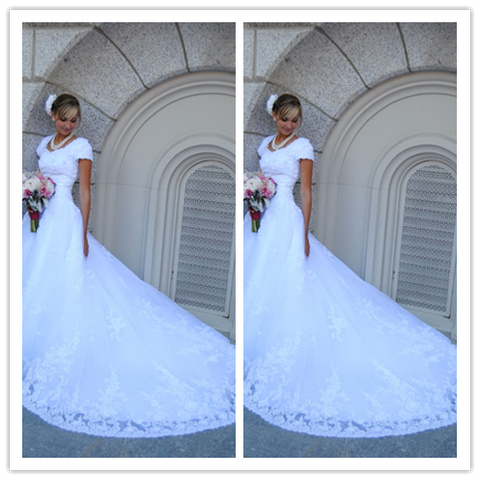 White Cap Sleeves Lace Court Train Bridal Gown Wedding Dress #W010