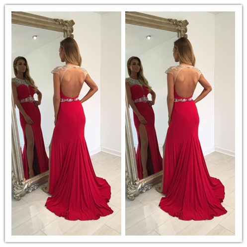Backless Beading Charming Real Made Red Prom Dresses #L46