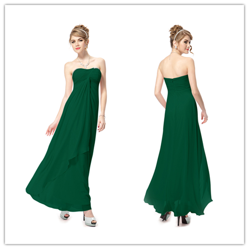 Emerald Green Chiffon Empire Waist Long Bridesmaid Dresses #B050
