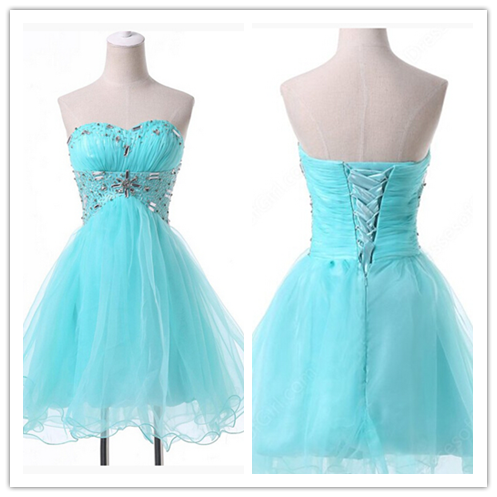Blue Tulle Sparkly 2016 Fashion Sweetheart 16 Dress #H055