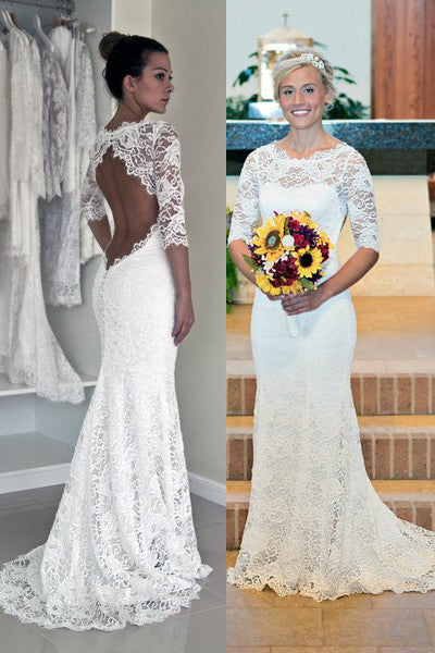 Lace Mermaid Sexy Backless Wedding Dresses  #W07