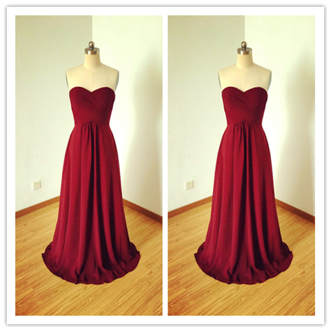 Burgundy Chiffon Prom Dresses Bridesmaid Dresses #B036