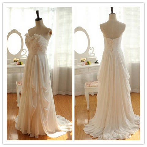 High Low Chiffon Sweep Train Beach Bridal Wedding Dresses #B028