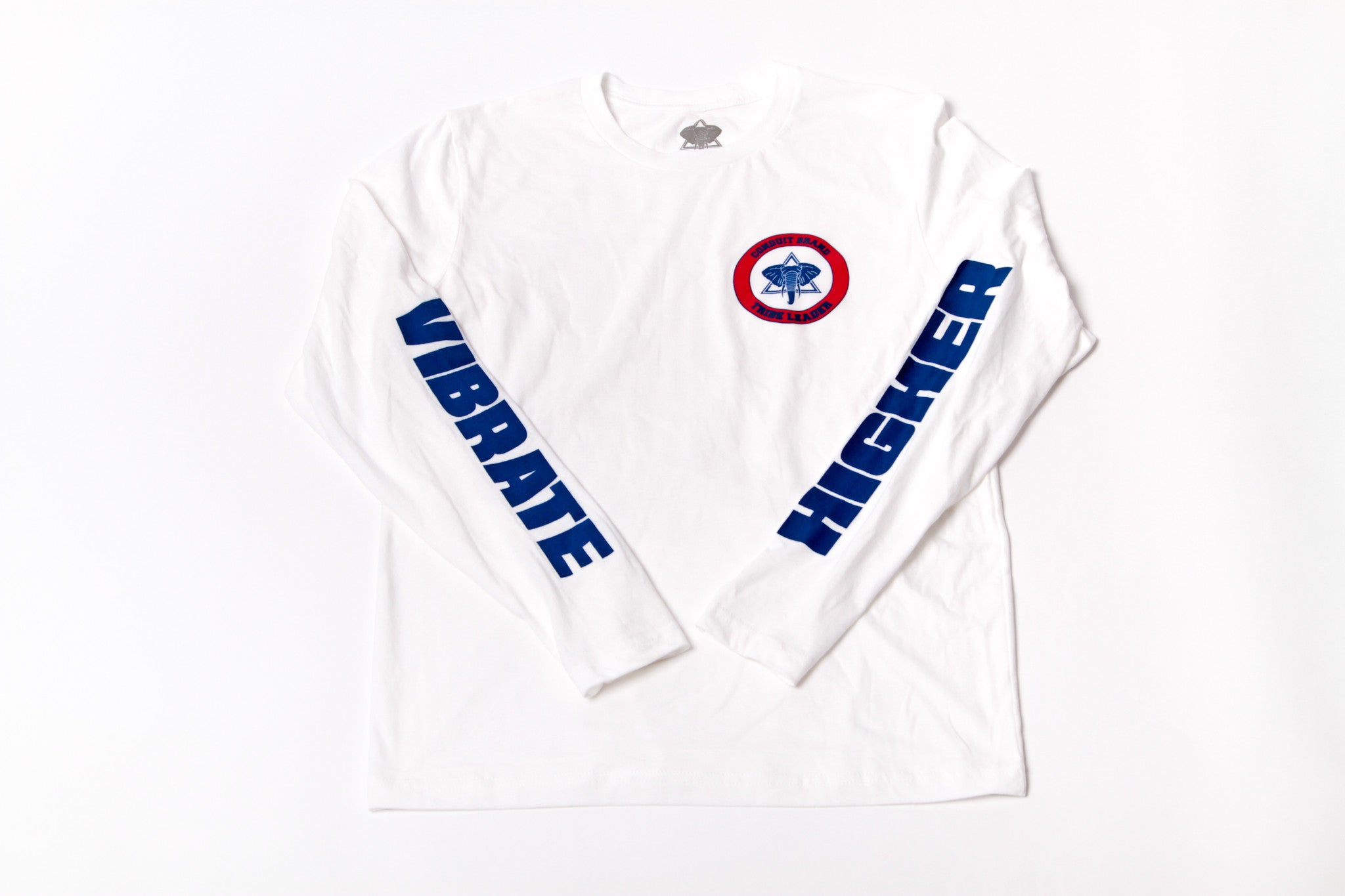 Vibrate Higher (Long Sleeve) - Royal Blue & Red - Conduit Brand