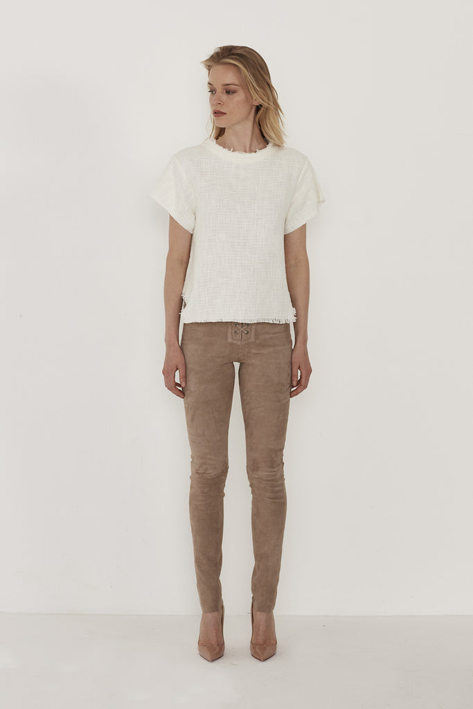 Rosa Cotton-Blend Tweed Top