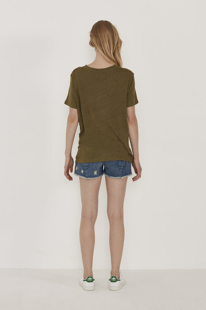 Liz Lace Up Detail Linen Tshirt