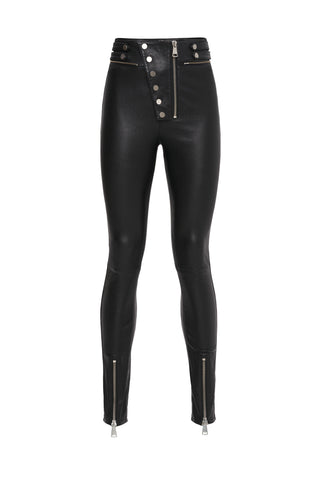 Stretch Suede Lace up Leather Pants