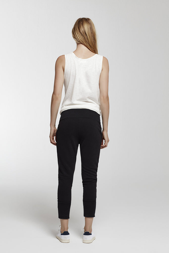 Lace-up cotton-blend jersey track pants