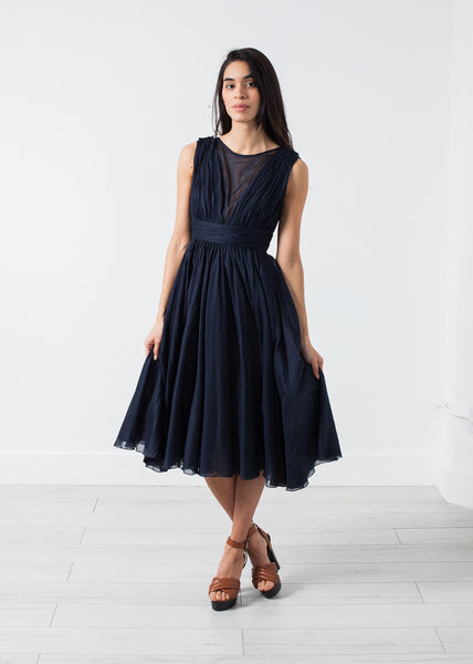 Voile V-Neck Dress in Navy