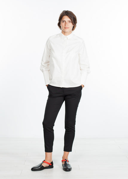 Trim Collar Poplin Blouse in Off White
