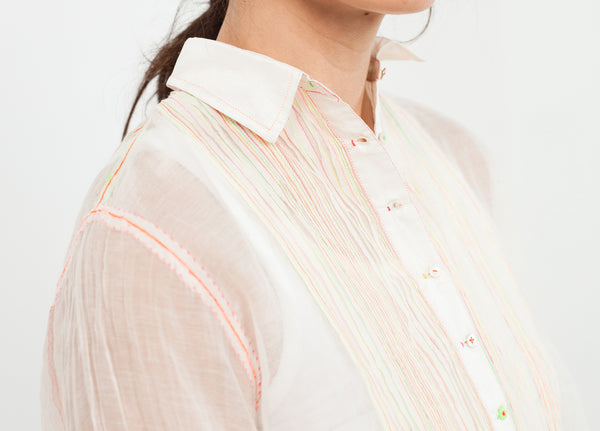 Sheer Rainbow Blouse in White