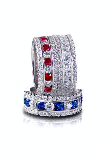 Blue and Red Diamond Ring