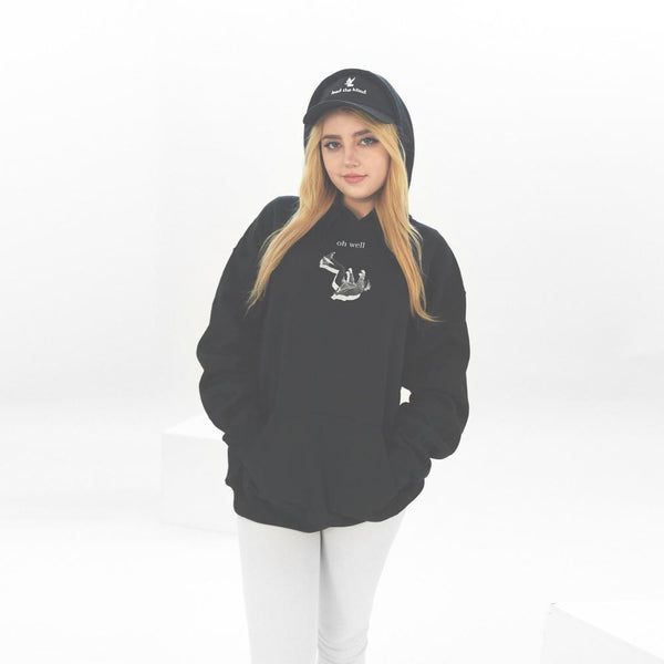 fall hoodie on female model