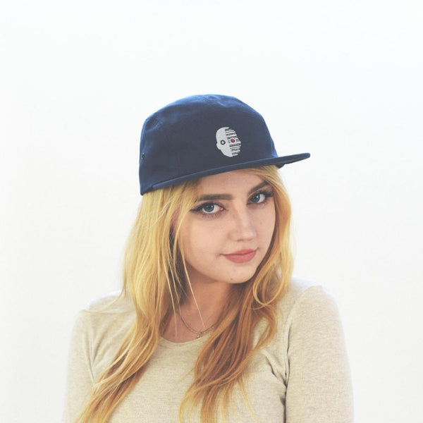 robot cap hat on female model